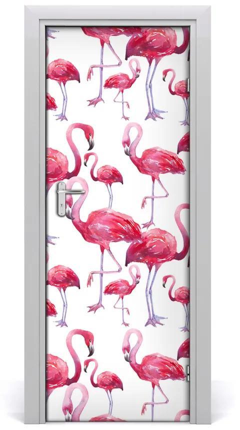 Autocolante pentru usi perete Flamingos