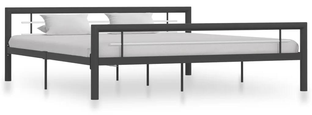 284561 vidaXL Cadru de pat, gri și alb, 180 x 200 cm, metal