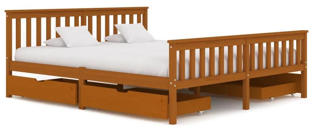 3060536 vidaXL Cadru de pat cu 4 sertare maro miere 180x200 cm lemn masiv pin