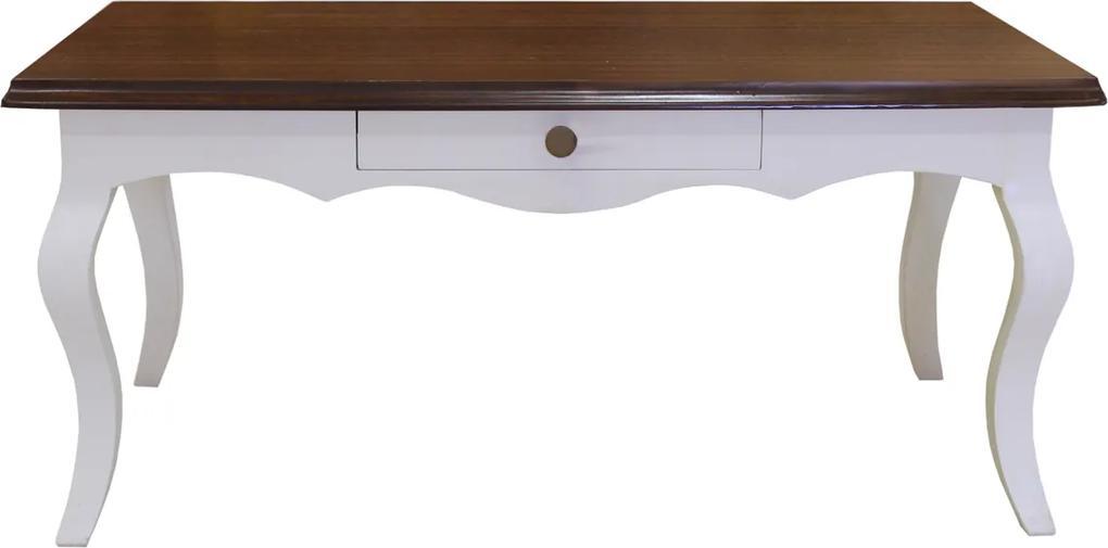 Masuta Leona din lemn alb cu maro 110x58x50 cm
