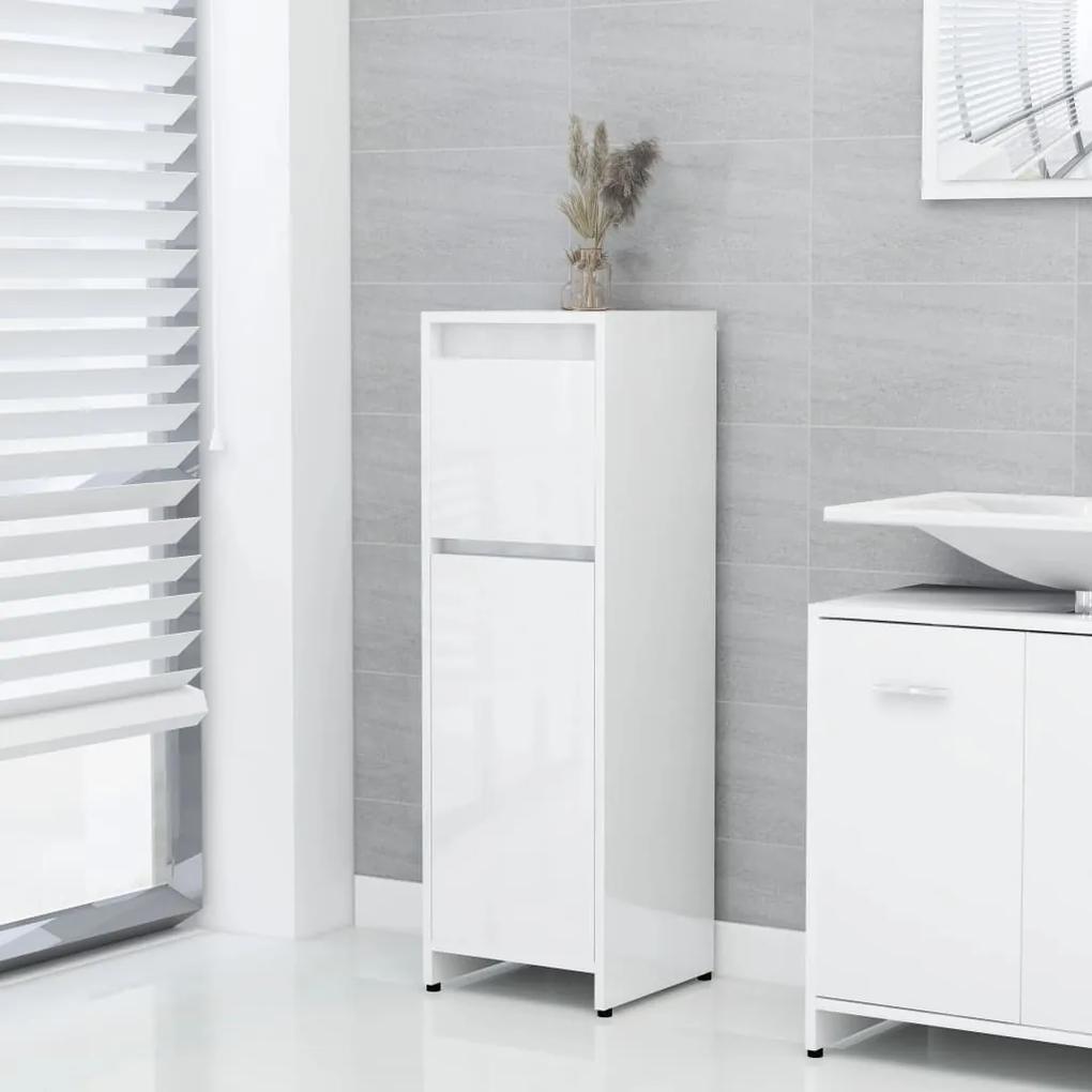802666 vidaXL Dulap de baie, alb extralucios, 30 x 30 x 95 cm, PAL