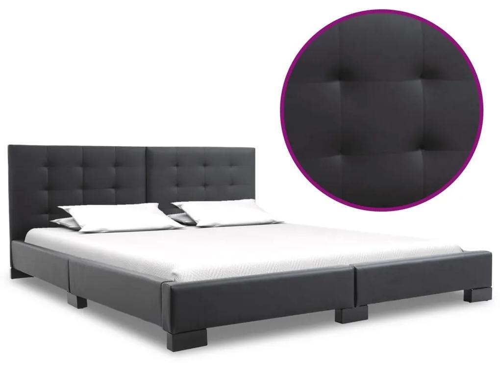 280630 vidaXL Cadru de pat, negru, 200 x 160 cm, piele artificială