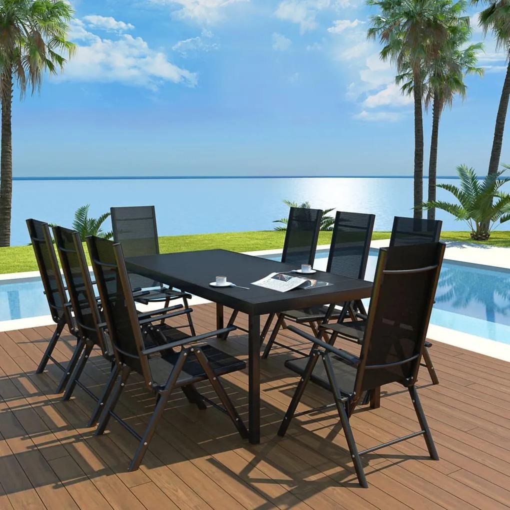 42771 vidaXL Set mobilier de exterior, 9 piese, negru, aluminiu și WPC