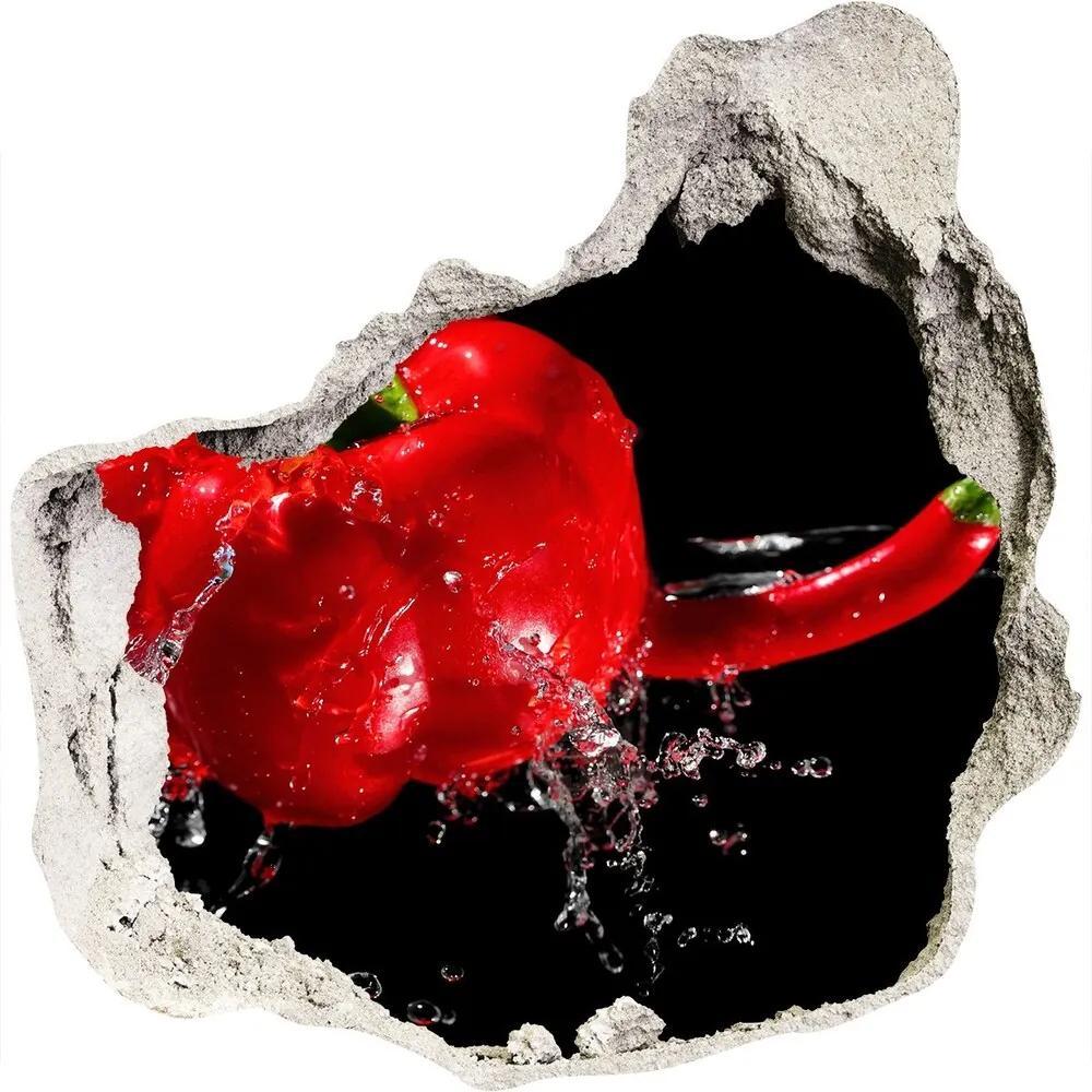 Fototapet un zid spart cu priveliște Ardei roșu