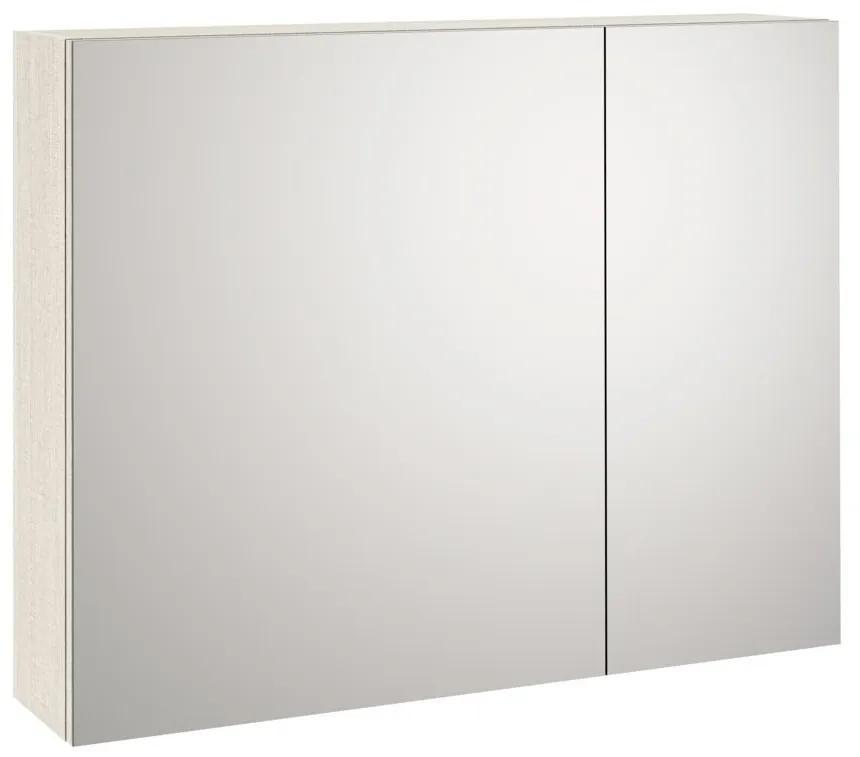 Dulap de baie cu oglinda MALMO, Melamina, Crem, 90x20x70 cm