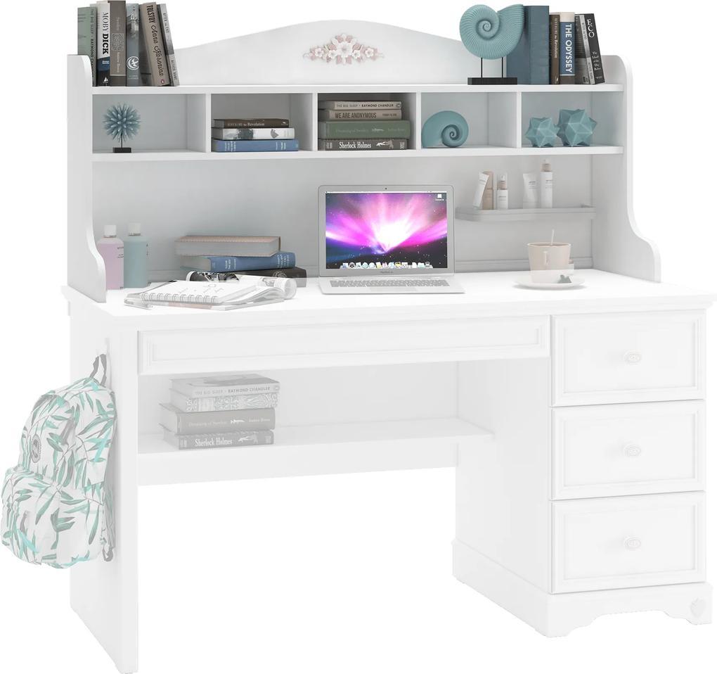 Biblioteca pentru birou din PAL Rustic White 135x62x38 cm