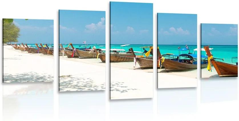 Tablou 5-piese plajă cu nisip alb pe insula Bamboo
