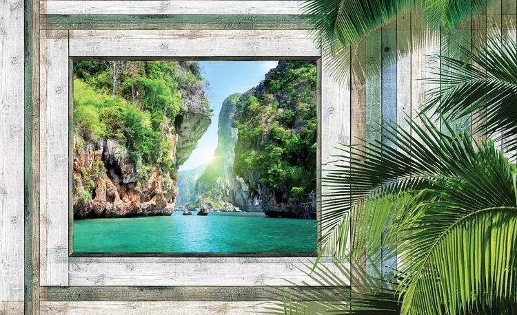 Beach Tropical View Fototapet, (208 x 146 cm)