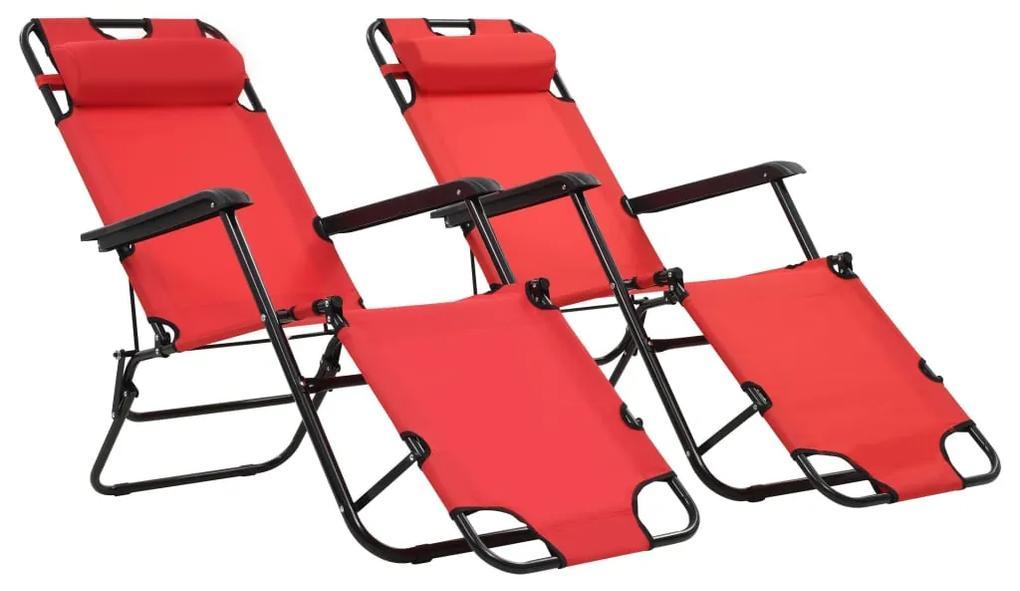 44344 vidaXL Șezlonguri plajă pliabile suport picioare 2 buc. roșu oțel