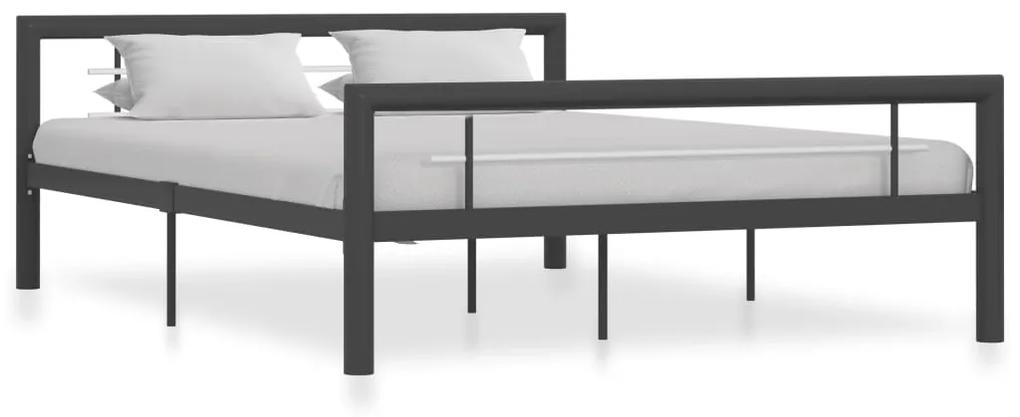 284560 vidaXL Cadru de pat, gri și alb, 160 x 200 cm, metal