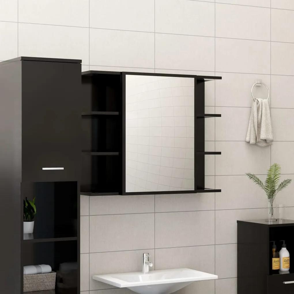 802607 vidaXL Dulap de baie cu oglindă, negru, 80 x 20,5 x 64 cm, PAL