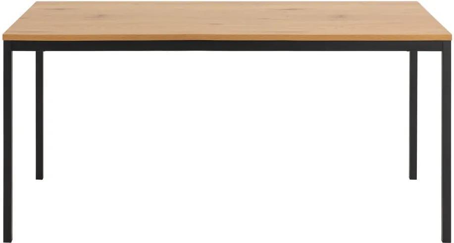Masă cu construcție metalică și blat în decor de stejar sălbatic Actona Seaford, 160 x 80 x 74 cm
