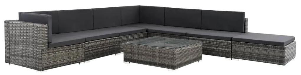 44610 vidaXL Set mobilier de grădină cu perne, 8 piese, gri, poliratan