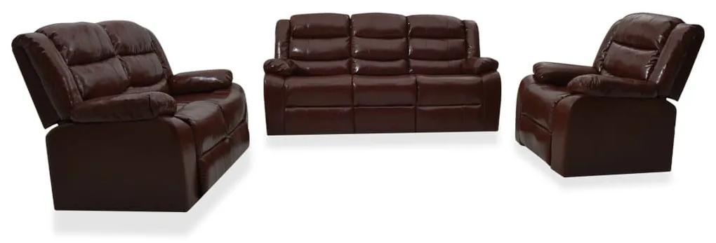3055337 vidaXL Set canapea rabatabilă, 3 piese, maro, piele ecologică