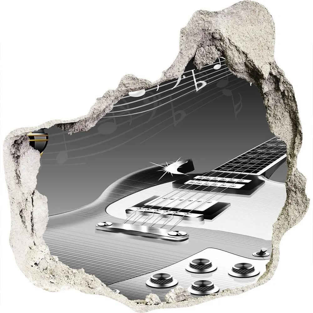 Autocolant 3D gaura cu priveliște Chitară și microfon