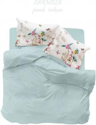 Cearceaf de pat +2 fete de perna Miss Mina Carmela Turkuaz Puanli
