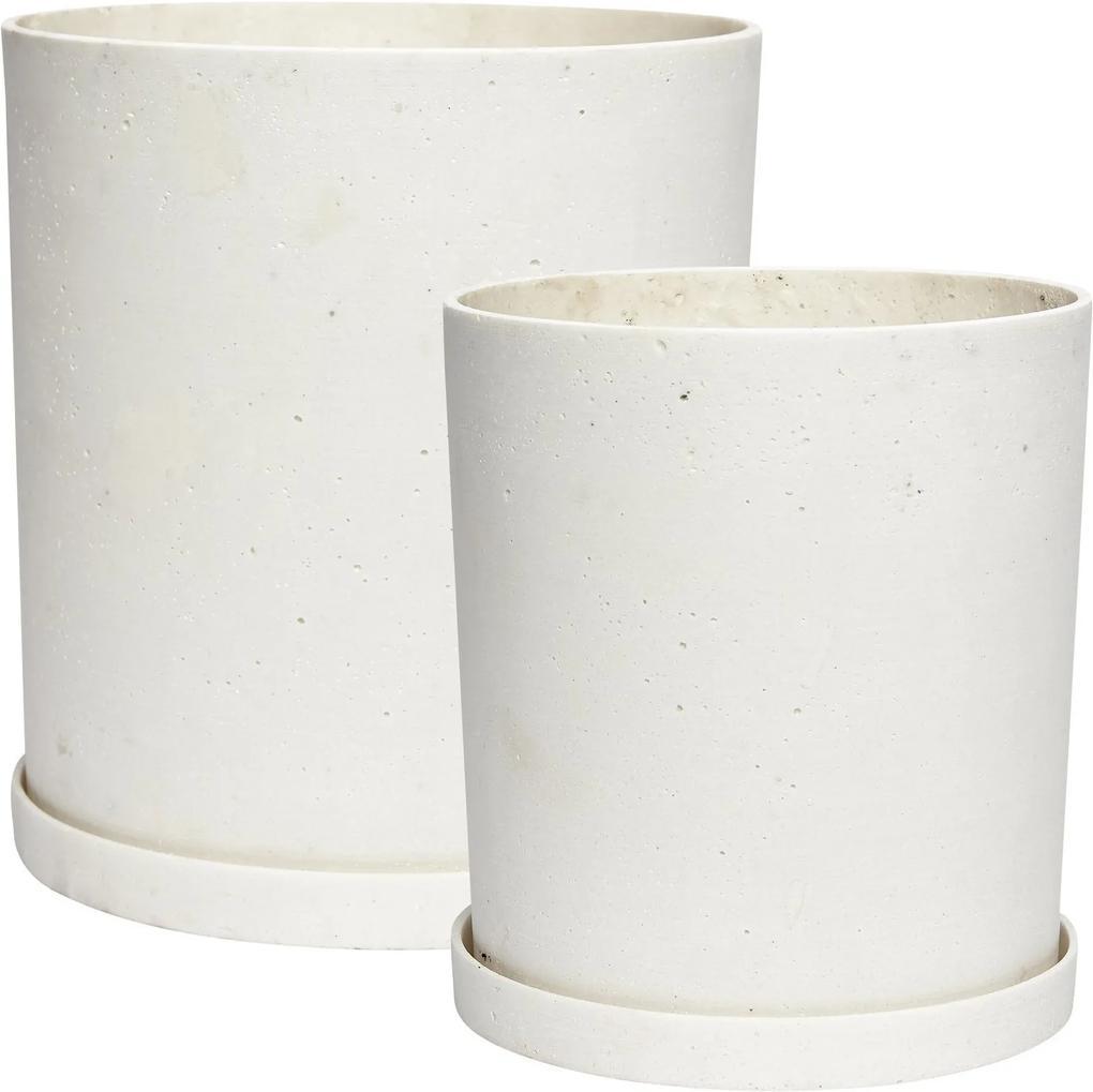 Set Ghivece din Beton cu Farfurie S (2 buc) - Beton Alb Diametru(25cm)x Inaltime(28cm) x Inaltime(33cm) x Diametru(30cm)