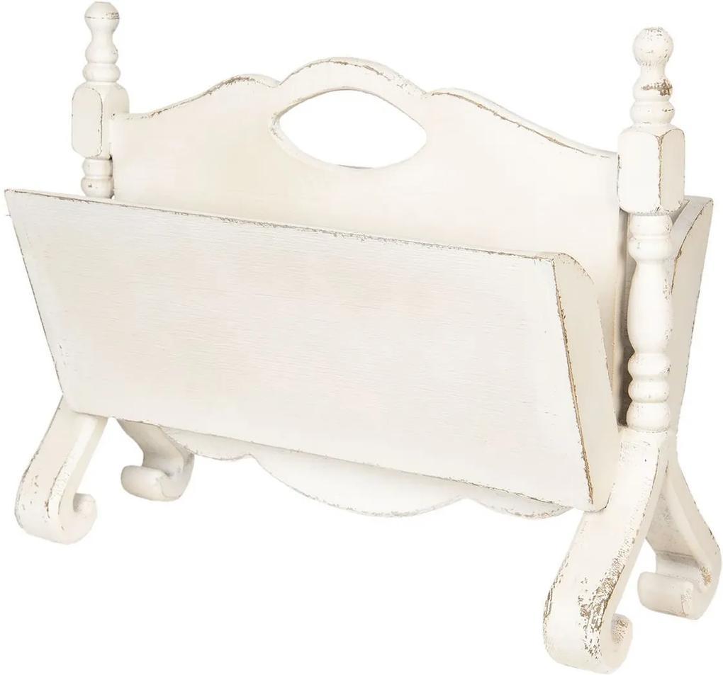 Suport reviste de pardoseala din lemn alb antichizat 55 cm x 25 cm x 44 h