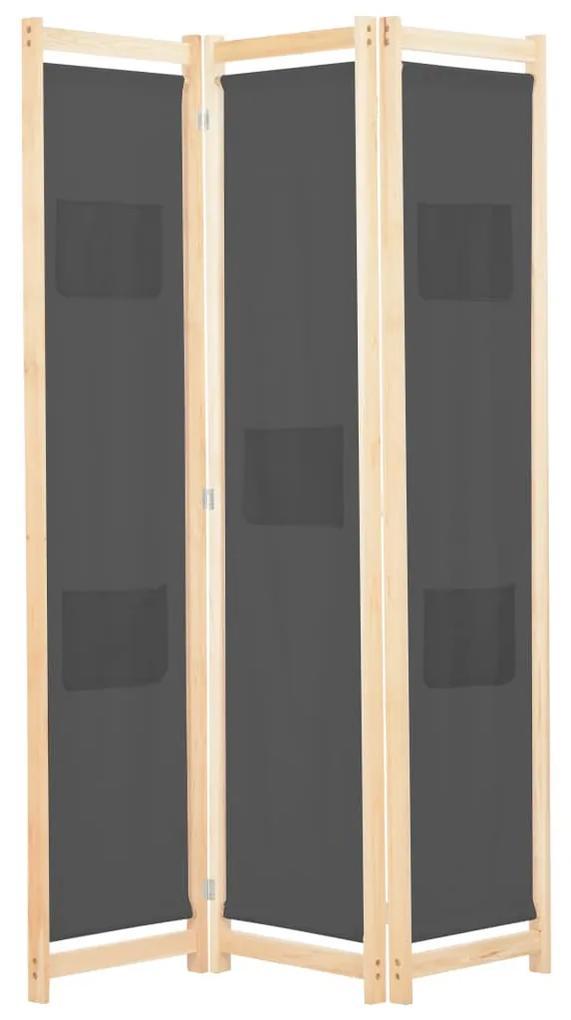 248175 vidaXL Paravan de cameră cu 3 panouri, gri, 120x170x4 cm, textil