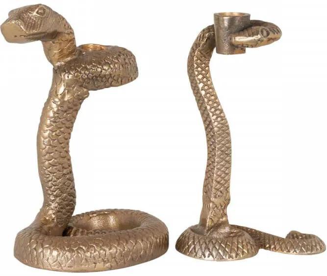 Set 2 suporturi lumanare din aluminiu Welton, gold