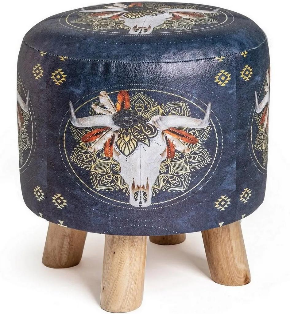 Taburet tapiterie piele ecologica cu picioare lemn natur Skull Ø 30 cm x 32 h
