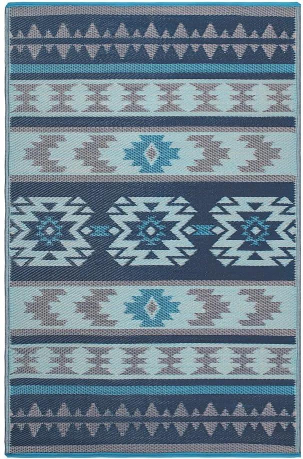 Covor reversibil potrivit pentru exterior, din plastic reciclat Fab Hab Cusco Blue, 120 x 180 cm, albastru