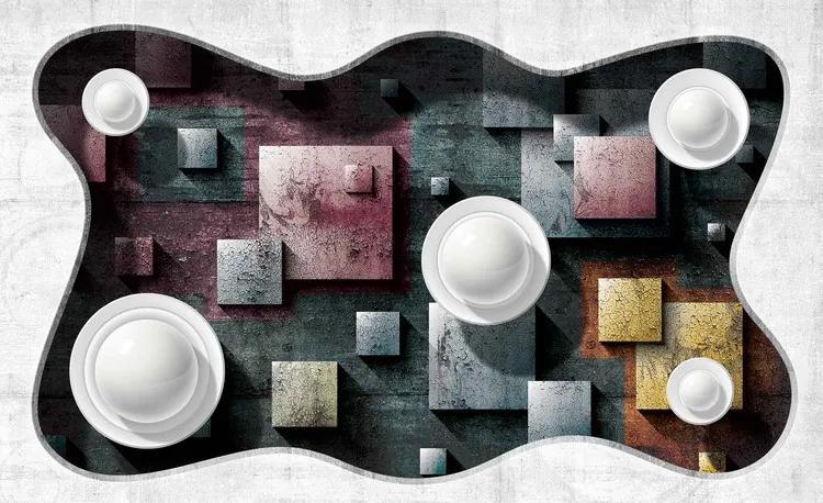 Abstract Modern Design Art Spheres Fototapet, (104 x 70.5 cm)