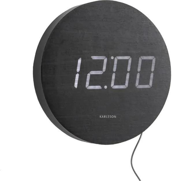 Ceas cu LED de perete Karlsson Round, negru