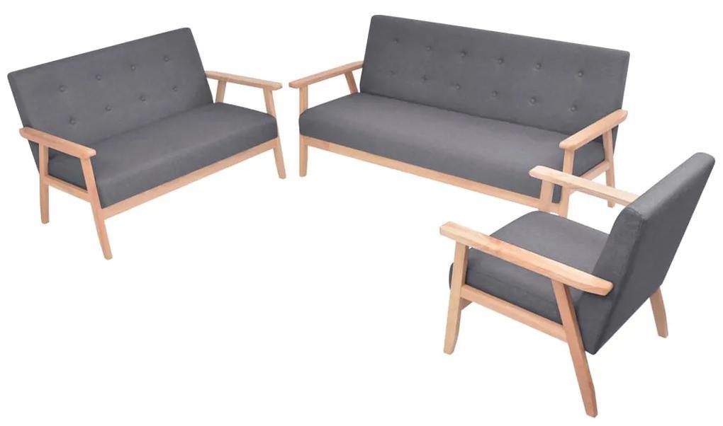 274926 vidaXL Set canapea din 3 piese, material textil, gri închis