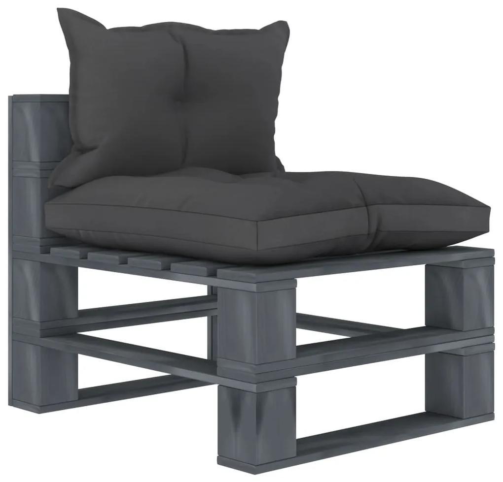 3052494 vidaXL Canapea de grădină din paleți cu perne negre, lemn