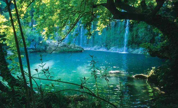 Tropical Waterfall Lagoon Forest Fototapet, (104 x 70.5 cm)