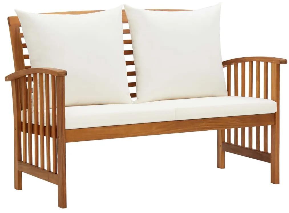 310260 vidaXL Bancă de grădină cu perne, 119 cm, lemn masiv de acacia