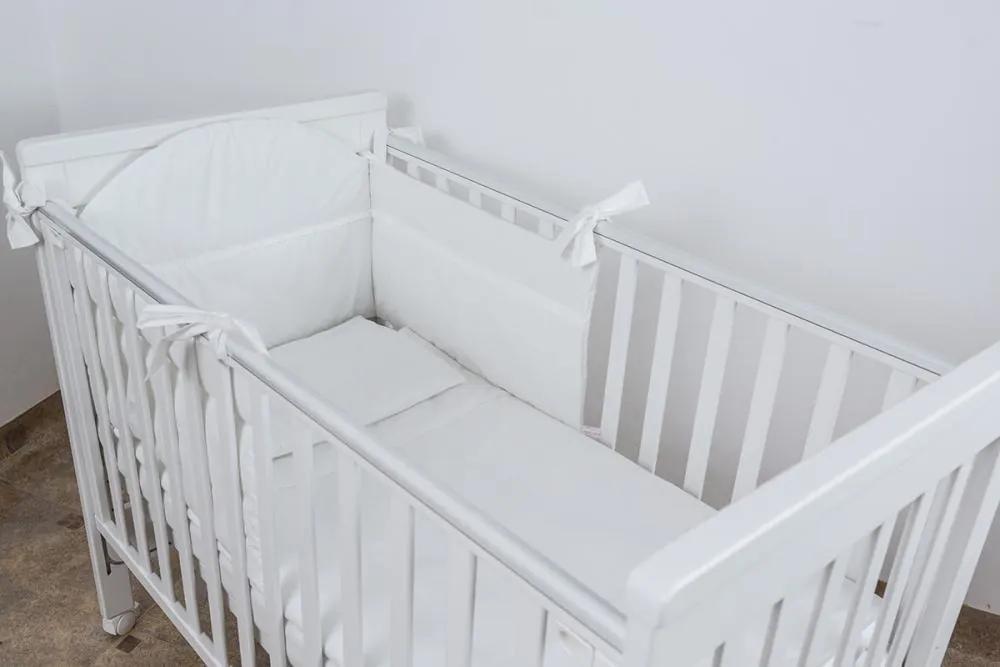 Lenjerie patut bebe cu 3 piese Alba cu dantela 120x60 cm
