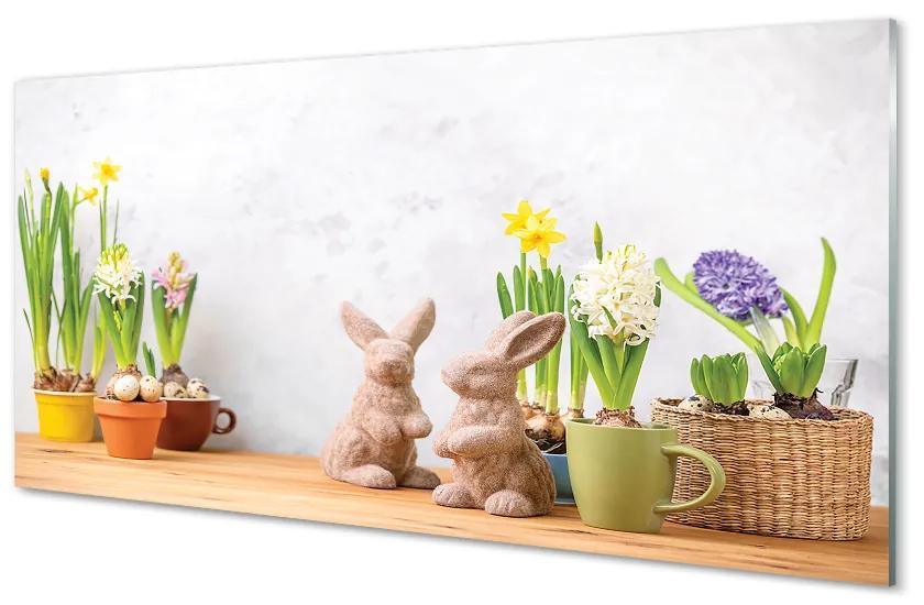 Panouri de sticlă Panouri de sticlă flori iepuri