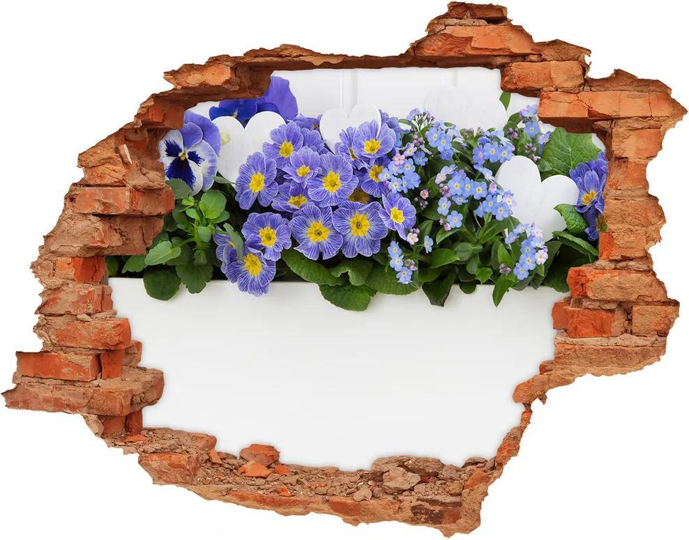 Fototapet un zid spart cu priveliște Flori albastre