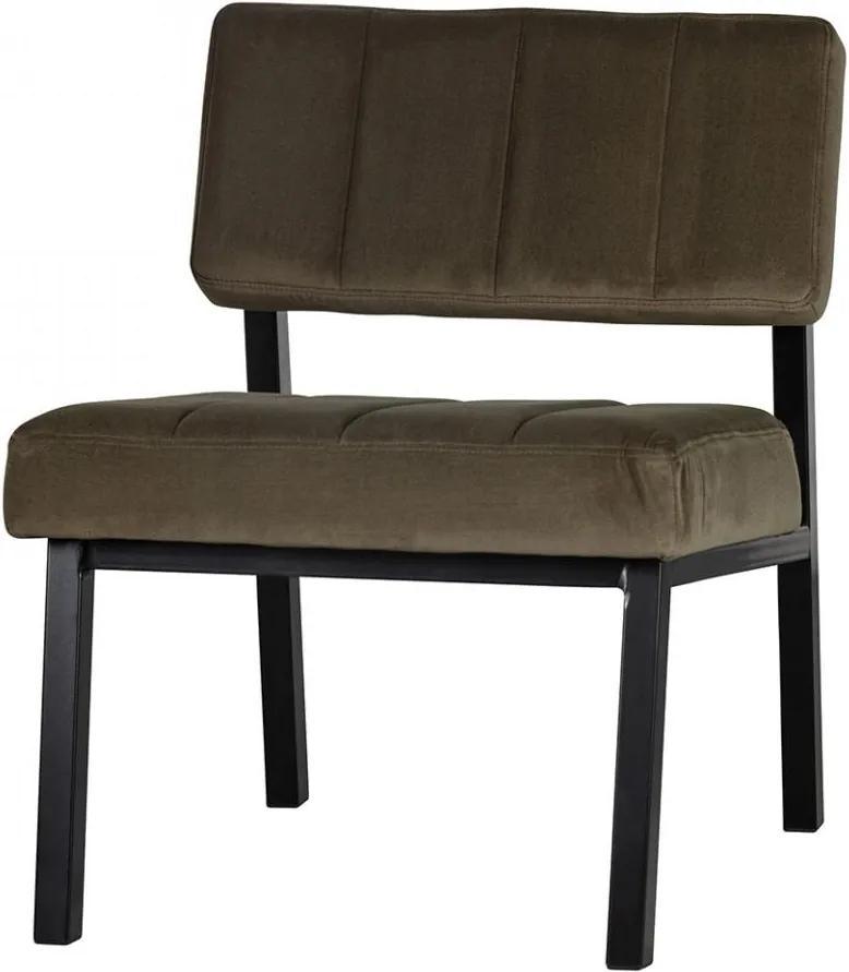 Scaun lounge verde army/negru din catifea si lemn Kaja