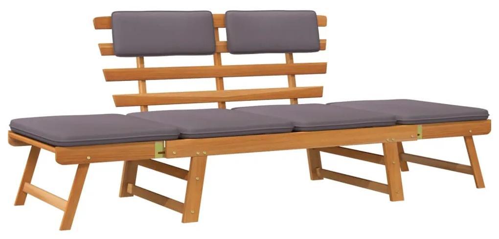 45960 vidaXL Bancă de grădină cu perne 2-în-1, 190 cm, lemn masiv de acacia