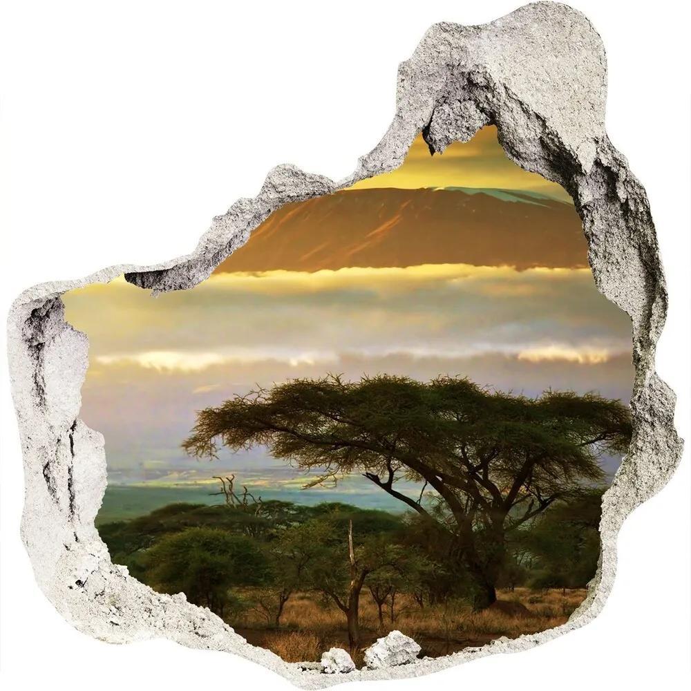 Fototapet un zid spart cu priveliște Kilimanjaro Kenya