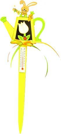 Decoratiune ghiveci cu termometru 8.5x27 cm