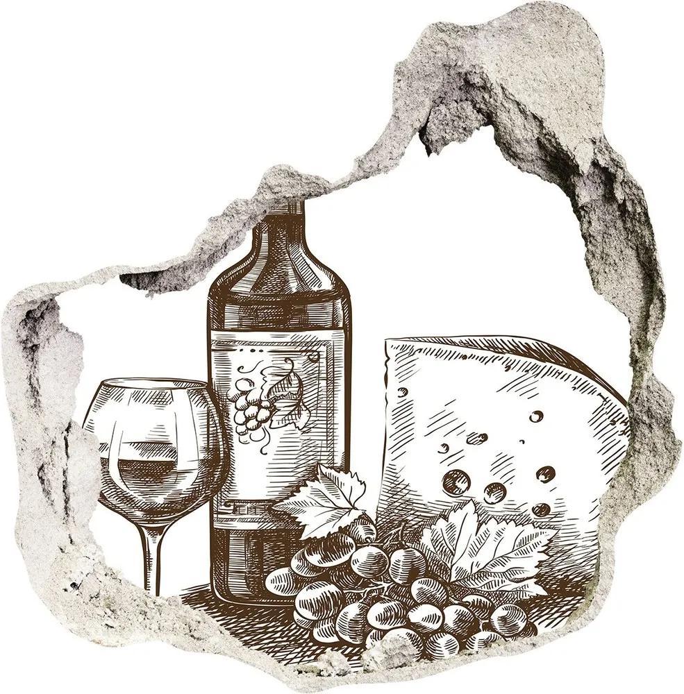 Fototapet un zid spart cu priveliște Vin și gustări