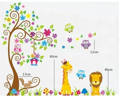 Decoraţiune autoadezivă Lumea colorată a  animalelor
