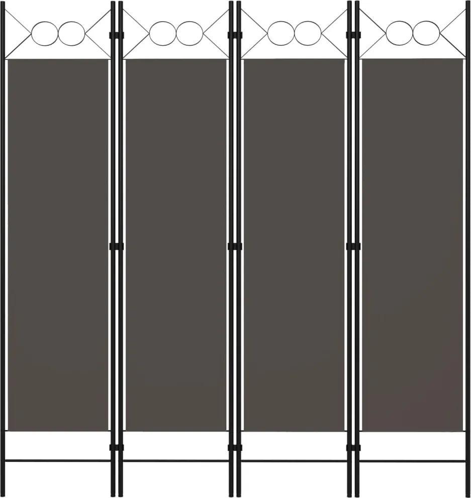 Paravan de camera cu 4 panouri, antracit, 160x180 cm