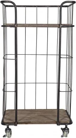 Carucior pentru servire din metal Giro, 88,5x47,5x37,5 cm, maro