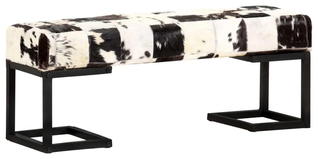 283750 vidaXL Bancă, negru, 110 cm, piele naturală de capră, model petice