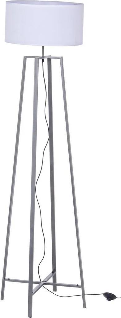 Lampadar fier gri cu abajur alb Mathis Ø 40 cm x 156 h