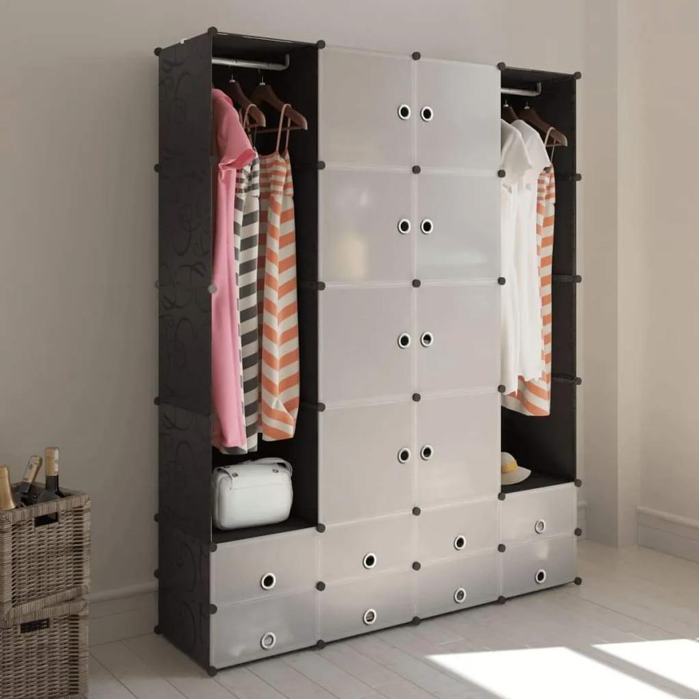Dulap modular cu 18 compartimente alb si negru 37x146x180,5 cm