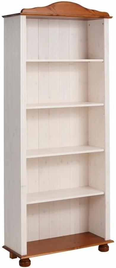 Bibliotecă din lemn de pin Støraa Ella, alb-maro