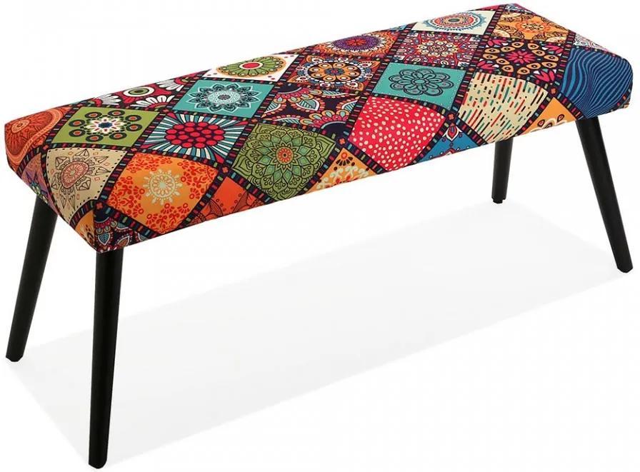 Bancheta multicolora din poliester 100 cm Margreet Bed Foot Stool Versa Home