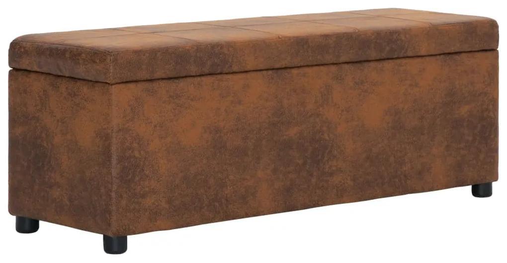 281315 vidaXL Banchetă cu depozitare, maro, 116 cm, piele întoarsă ecologică