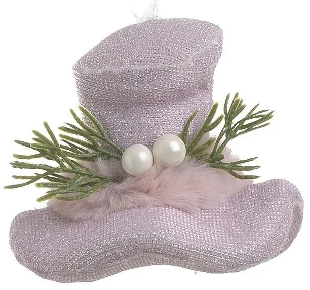 Set 6 ornament pentru brad Hat Pink 9 x 8 cm